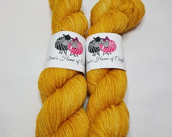 Hand dyed Merino Superwash yarn, Aran weight, 100g, HONEY MUSTARD