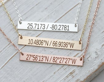Latitude Longitude Necklace / Personalized Bar Necklace 14K Gold , Sterling Silver, Rose Gold / Coordinate Necklace / Valentine Gift for Her
