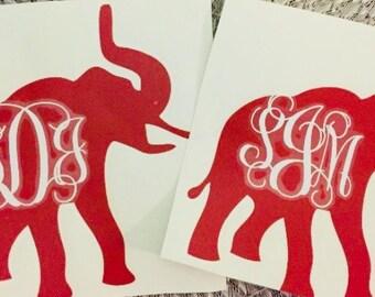 Elephant Monogram Decal Sticker Alabama