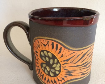Pottery coffee mug, Squash design.