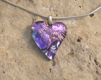 Pink and Purple Heart Pendant Fused Dichroic Glass Petite Heart Necklace