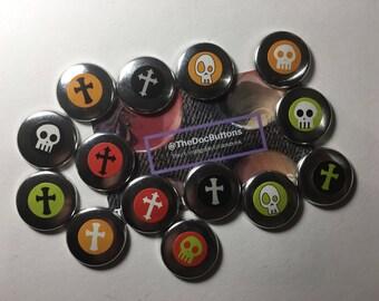 Skulls and Cross Sticker Buttons