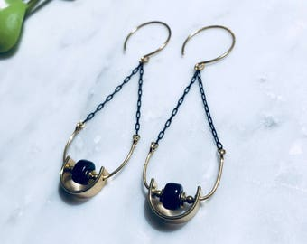Black Chain Gold Swing Earrings