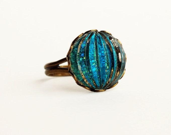 Aqua Marine Blue Ring Vintage Blue Green Glitter Nail Polish Jewelry Aquamarine Adjustable Ring