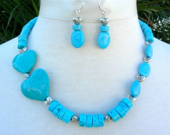 "Turquoise Hearts & Beads, Small Sterling Silver Heart Beads, ""Unsweetened"" Heart Necklace Set by SandraDesigns"