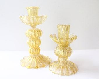 Vintage Italian Murano Ercole Barovier & Toso Gold Cordonato d'Oro Candlesticks