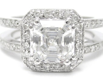 2.65ctw ASSCHER CUT prong set double shank diamond engagement ring