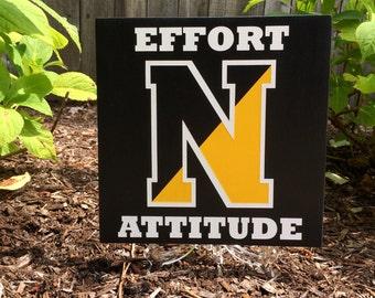 Custom hand-painted wood sign celebrates your school spirit.