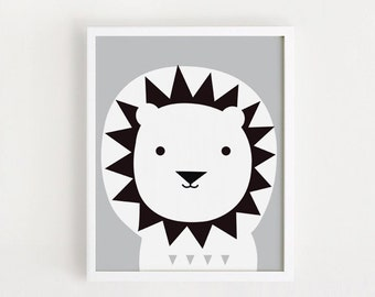 bebe Lion Poster Cute kawaii Printable art Kids poster Animal art print for baby boys room Gray nursery art DOWNLOAD 8x10, 11x14, A4, A3