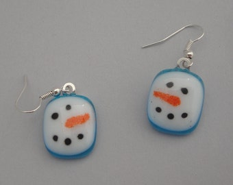 Fused Glass Snowman Earrings - BHS03754