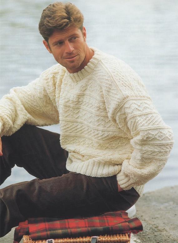 Mens And Boys Aran Sweater Knitting Pattern 26 28 30 32 34