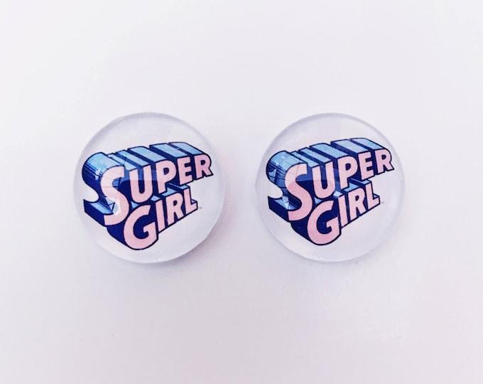 The 'Super Girl' Glass Earring Studs