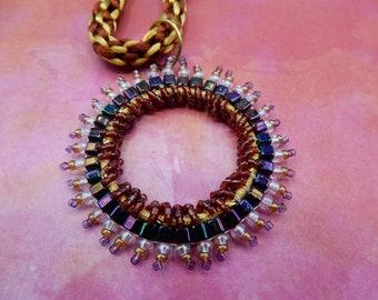 Bead Work Pendant and Kumihimo Necklace
