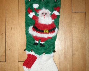 Hand Knit  Christmas Stocking  with  Waving Santa/TAKING ORDERS FOR 2018