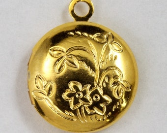 12mm Gold Round Locket #2761