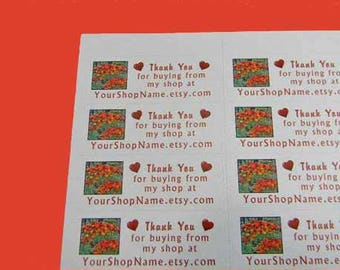 30 PERSONALIZED Thank You Labels. 1 Sheet of White 1-Inch Labels Printed in Color. 5377