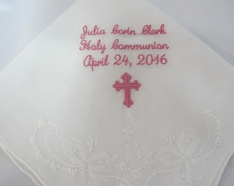 Embroidered First Holy Communion Handkerchief