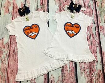 denver broncos girls dress - denver broncos baby dress - big sister little sister dress - denver bronocs baby girl - denver bronco baby gift