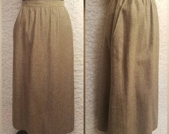 Vintage Evan-Picone Woven Neutrals Midi-Wool Pencil Skirt