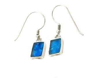 Israeli Roman Glass Earrings, Delicate Rectangle Earrings, 925 Silver Earrings, Small Blue Roman Glass Earrings, Dangle Earrings Gift