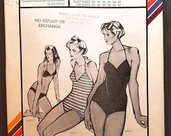 Stretch & Sew 1345 pattern, Ann Person, V-neck Swimsuits and Triangle Bikini, Bust Sizes 30 - 40, Hip Sizes 32 to 42, Vintage 1979, Uncut