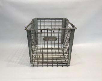 2 Wire Storage Baskets, Metal Number Tags, Vintage Gym Locker Baskets