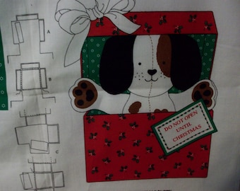 Cranston Print Works The Christmas Puppy Screen Print, Sewing Panels, Christmas Panels, Dogs, Crafts