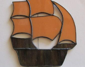 Stained Glass Suncatcher Ship