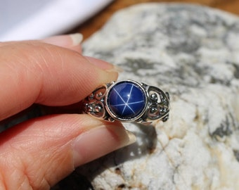 Size 8, Star Sapphire Ring, Sterling Silver, Sapphire Ring, September, Birthstone, Star Ring, Unique Ring, Ring Size 8, Blue Ring, Gemstone