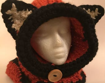 Crocheted Orange Fox Hooded Cowl with Ears