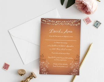 Printable A5 Wedding Invitation, Flat, Personalised