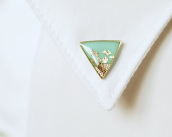 Mint Gold Triangle collar brooches - Geometric collar pin - shirt accessory