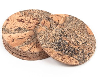 Round Genuine Cork Iceberg Pattern Coasters set4