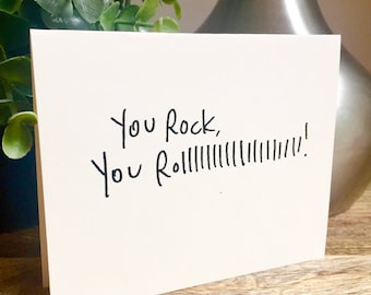 You rock card, Handmade hello car, Thank you card, handleterred thank you card, Just saying hello, rock n roll card, Blank thanks note,