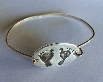 Your Child's Actual Footprints Silver Bracelet --Made to Order