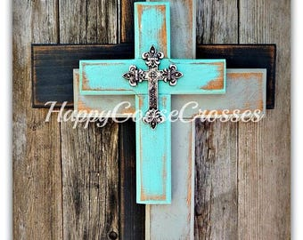 Wall Cross - Wood Cross - Small - OFFSET Crosses in Rustic Antiqued Black, Gray, and Turquoise, with OPTIONAL small silver top cross