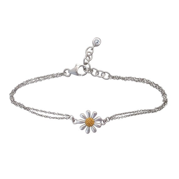 Silver Daisy Pendant, 13mm Mini Version, Fine Quality Sterling Silver with Gold Plated Centre, 13mm in Diameter.