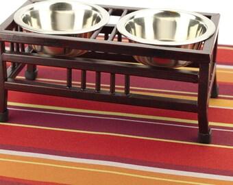 Dog Food Mat, Medium 19x25, Dog Placemat, Pet Food Mat, Non Slip Mat, Stain Resistant, No Mess Mat, Splat Mat, Cat Litter Mat, Red Stripes