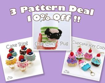 PDF Amigurumi / Crochet Pattern Special 3-Pattern Deal: Cupcake Key Cozy, Coffee Cup Cozy - Pug, Amigurumi Cake Ring CPD-16-3321