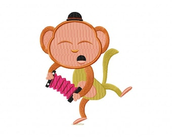 Cute monkey on accordion music machine embroidery design