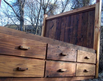 12 Drawer Rustic Reclaimed Wood Platform Storage Bed
