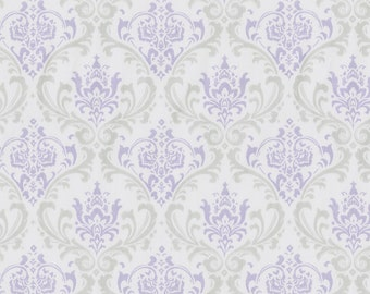 Lilac and Silver Gray Damask Fabric - By The Yard - Girl / Vintage / Fabric