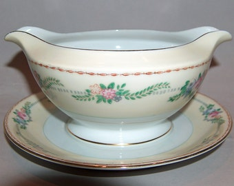 p7821: Meito Japan Vintage Gravy Boat Bowl with Underplate Floral Roses Gold Trim Hand Painted Pink Roses Fine China at Vintageway Furniture