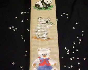 Koala and panda embroidered bookmark