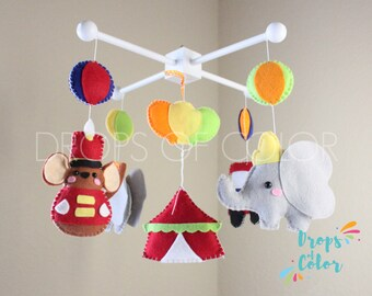 Dumbo Mobile, Baby Mobile, Baby Crib Mobile, Circus Nursery Decor Inspired by Disney Dumbo, Elephant Mouse, Circus Tent, Felt Elephant