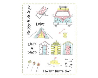 A6 set of photo-polymer clear stamps - BEACH SCENE DESIGN