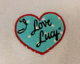 I Love Lucy Embroidered Appliqued Hand Towel