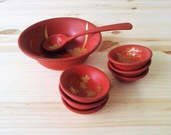 Vintage Japanese Lacquerware Serving Set