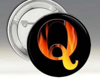 Q 3 1/2 Inch Pinback Button Badges / Qanon / Flames / American Flag