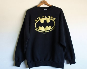 LARGE Vintage 1996 Batman The Ride Six Flags Pullover Sweatshirt